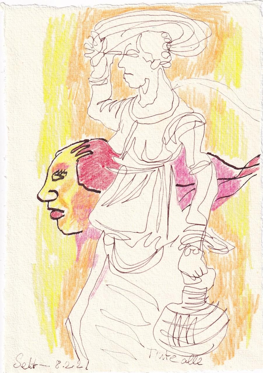 Tagebucheintrag 08.02.2021, Dekameron, Pamoinea, die Königin, Version 3, 20 x 15 cm, Tinte und Buntstift auf Silberburg Büttenpapier, Zeichnung von Susanne Haun (c) VG Bild-Kunst, Bonn 2021
