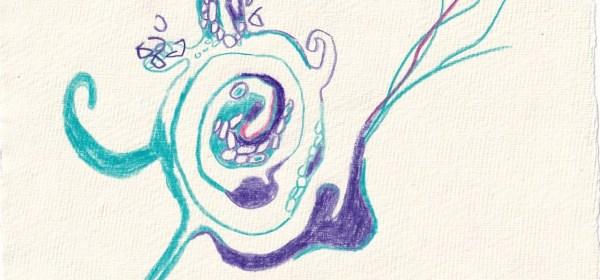Tagebucheintrag 11.02.2021, Ausbruch, 20 x 15 cm, Buntstift auf Silberburg Büttenpapier, Zeichnung von Susanne Haun (c) VG Bild-Kunst, Bonn 2021