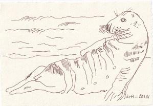 Tagebucheintrag 28.01.2021, View of a Seal, Nude, 20 x 15 cm, Tinte auf Silberburg Büttenpapier, Zeichnung von Susanne Haun (c) VG Bild-Kunst, Bonn 2021