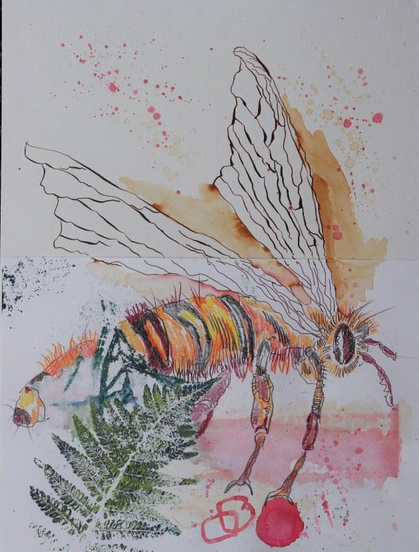 2021 02 23 Bienenkönigin, 40 x 30 cm, Druck und Zeichnung von Kerstin Mempel und Susanne Haun (c) VG Bild-Kunst, Bonn 2021
