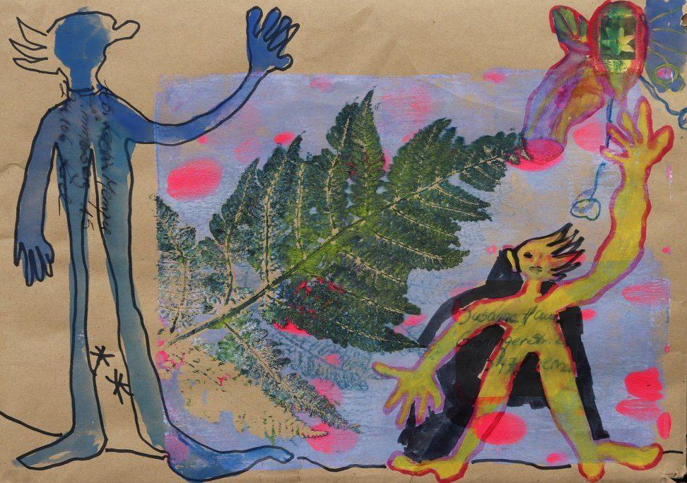 2021 02 23 Hallo Kerstin, 25 x 35 cm, Druck und Zeichnung von Kerstin Mempel und Susanne Haun (c) VG Bild-Kunst, Bonn 2021