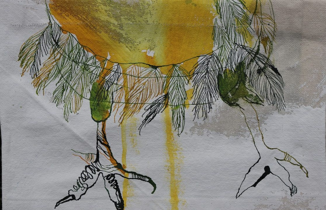 2021 03 23 Vogelfuesse, 20 x 30 cm, Zeichnung auf Leinwand von Susanne Haun (c) VG Bild-Kunst, Bonn 2021
