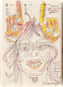 Selbstbildnisstagebuch 1.-28.2.2021 Zeichnung von SusanneHaun (c) VG-Bild-Kunst Bonn 2021