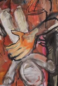 Am Frühstückstisch, Gemälde von Susanne Haun, 98 x 148, Acryl und Tusche auf Leinwand (c) VG Bild-Kunst, Bonn 2021
