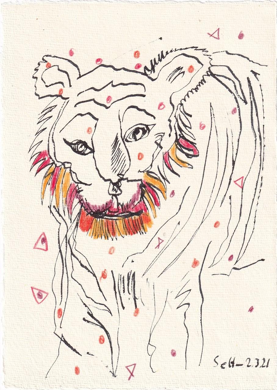 Tagebucheintrag 02.03.2021, Tiger sein, 20 x 15 cm, Tinte und Buntstift auf Silberburg Büttenpapier, Zeichnung von Susanne Haun (c) VG Bild-Kunst, Bonn 2021