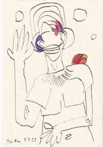 Tagebucheintrag 03.03.2021, Planetarium, 20 x 15 cm, Tinte und Buntstift auf Silberburg Büttenpapier, Zeichnung von Susanne Haun (c) VG Bild-Kunst, Bonn 2021