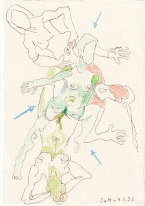 Tagebucheintrag 04.03.2021, Schlank bleiben, 20 x 15 cm, Tinte und Buntstift auf Silberburg Büttenpapier, Zeichnung von Susanne Haun (c) VG Bild-Kunst, Bonn 2021