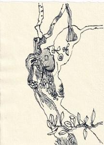 Tagebucheintrag 05.03.2021, Olivenbaum, 20 x 30 cm, Tinte auf Silberburg Büttenpapier, Zeichnung von Susanne Haun (c) VG Bild-Kunst, Bonn 2021