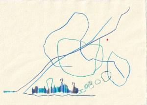 Tagebucheintrag 09.03.2021, Das Eismeer, 20 x 30 cm, Buntstift auf Silberburg Büttenpapier, Zeichnung von Susanne Haun (c) VG Bild-Kunst, Bonn 2021