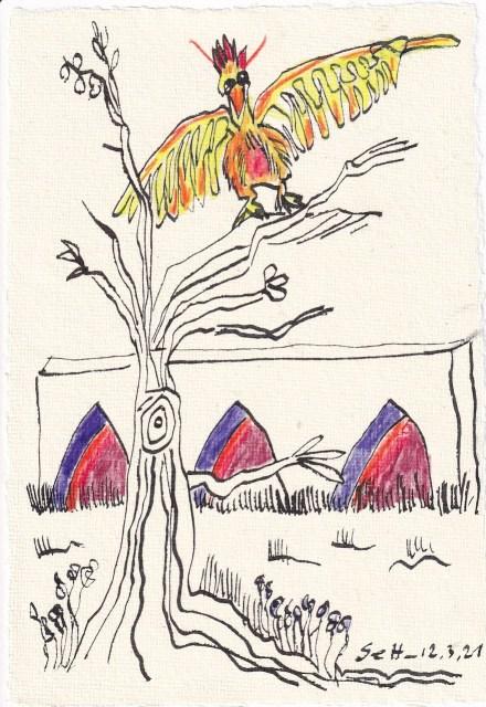 Tagebucheintrag 12.3.2021, Das Dekameron, Zikarden in Ölivenbäumen, Version 3, 20 x 15 cm, Buntstift und Tinte auf Silberburg Büttenpapier, Zeichnung von Susanne Haun (c) VG Bild-Kunst, Bonn 2021.