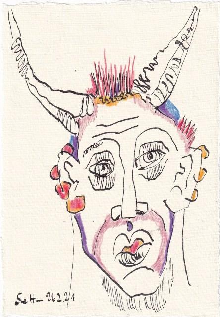 Tagebucheintrag 25.02.2021, Der Teufel, Version 2, 20 x 15 cm, Buntstift und Tinte auf Silberburg Büttenpapier, Zeichnung von Susanne Haun (c) VG Bild-Kunst, Bonn 2021
