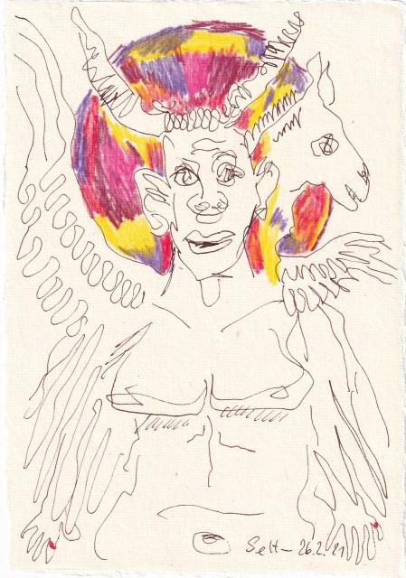Tagebucheintrag 26.02.2021, Der Teufel, Version 1, 20 x 15 cm, Buntstift und Tinte auf Silberburg Büttenpapier, Zeichnung von Susanne Haun (c) VG Bild-Kunst, Bonn 2021