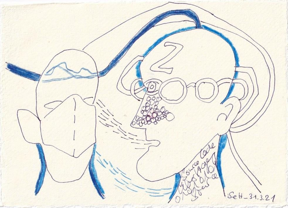 agebucheintrag-31.03.2021-Kommunikation-Version-2-20-x-15-cm-Tinte-und-Buntstift-auf-Silberburg-Büttenpapier-Zeichnung-von-Susanne-Haun-c-VG-Bild-Kunst-Bonn-2021