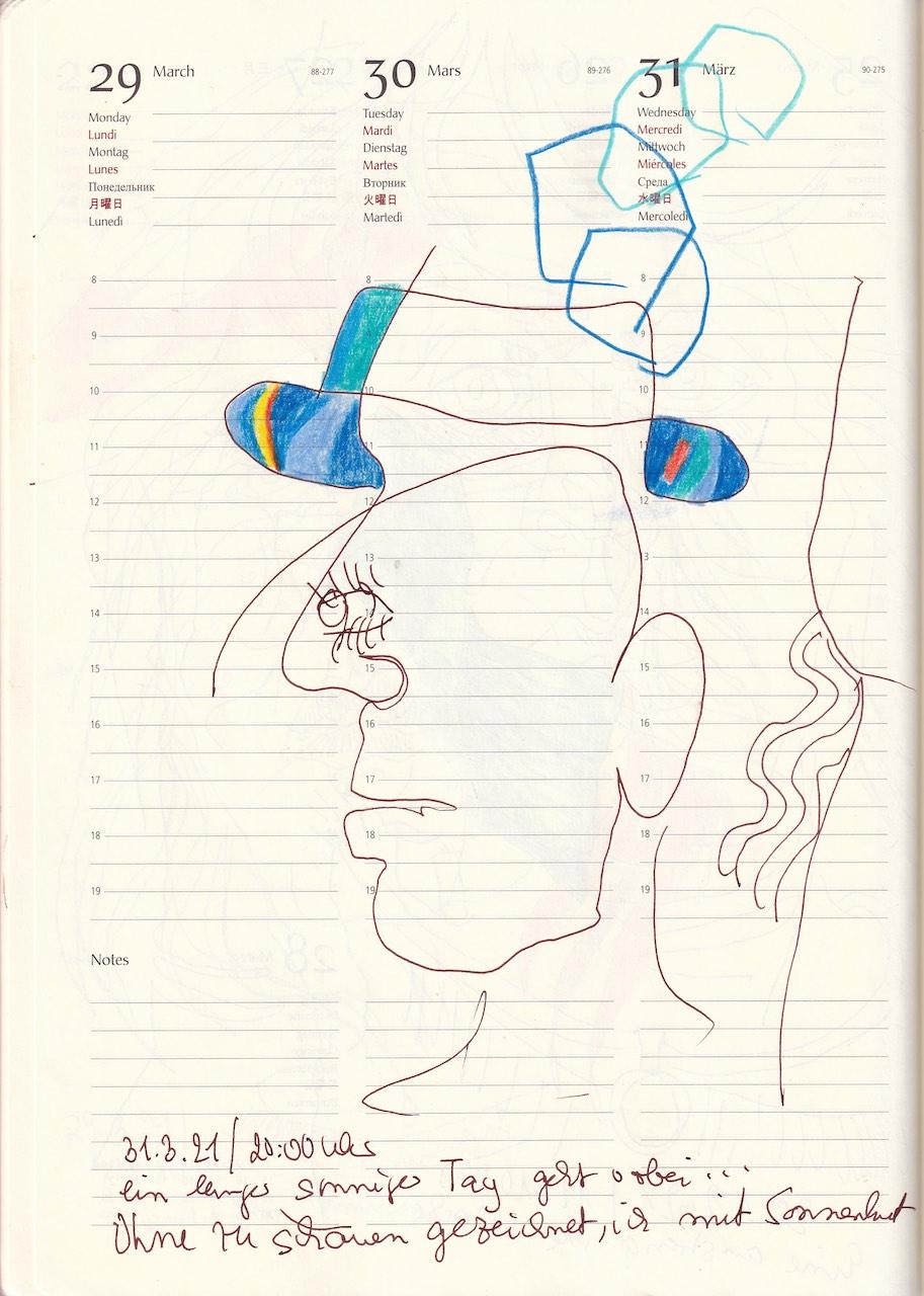 Selbstbildnisstagebuch 1.3. - 17.4.2021, Zeichnung von SusanneHaun (c) VG-Bild-Kunst Bonn 2021