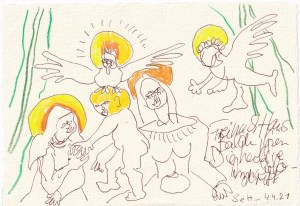 Tagebucheintrag 04.04.2021, Inspiriert von Grien, Die hl. Anna selbdritt, V1 ,20 x 15 cm, Tinte und Buntstift auf Silberburg Büttenpapier, Zeichnung von Susanne Haun (c) VG Bild-Kunst, Bonn 2021