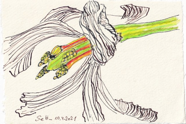 Tagebucheintrag 10.04.2021, Vanitas Tulpen, 20 x 15 cm, Tinte und Buntstift auf Silberburg Büttenpapier, Zeichnung von Susanne Haun (c) VG Bild-Kunst, Bonn 2021
