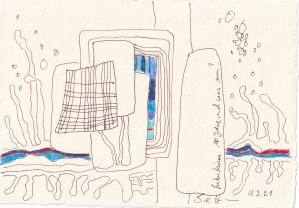Tagebucheintrag 11.03.2021, Fokushima, 20 x 15 cm, Buntstift und Tinte auf Silberburg Büttenpapier, Zeichnung von Susanne Haun (c) VG Bild-Kunst, Bonn 2021