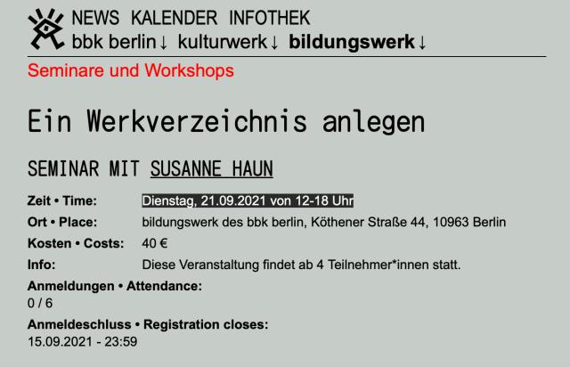bbk Bildungswerk Ein Werkverzeichnis anlegen, Dozentin Susanne Haun