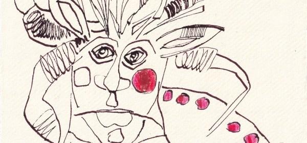 Tagebucheintrag 17.05.2021, Apfelbacke, 20 x 15 cm, Tinte und Aquarell auf Silberburg Büttenpapier, Zeichnung von Susanne Haun (c) VG Bild-Kunst, Bonn 2021