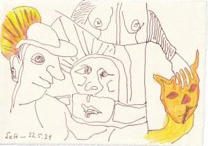 Tagebucheintrag 22.05.2021, Vom Tacheles to Holly Golightly, 20 x 15 cm, Tinte und Buntstift auf Silberburg Büttenpapier, Zeichnung von Susanne Haun (c) VG Bild-Kunst, Bonn 2021