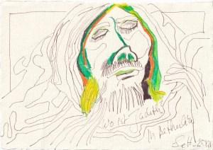 Tagebucheintrag 25.04.2021, Wo ist Judith, 20 x 15 cm, Tinte und Buntstift auf Silberburg Büttenpapier, Zeichnung von Susanne Haun (c) VG Bild-Kunst, Bonn 2021