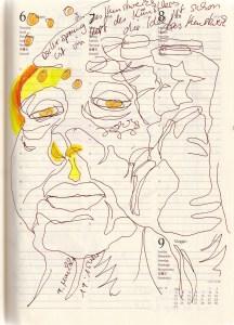 Selbstbildnisstagebuch 19.4. - 9.6.2021, Zeichnung von SusanneHaun (c) VG-Bild-Kunst Bonn 2021