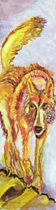 Der Wolf, einsamer Jäger, 148 x 42,5 cm, Acryl auf Leinwand, Gemälde von Susanne Haun (c) VG Bild-Kunst, Bonn 2021