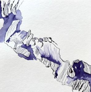 Rittersporn, Version 2, 25 x 25 cm, Tinte und Aquarell auf Silberburg Büttenpapier, Zeichnung von Susanne Haun (c) VG Bild-Kunst, Bonn 2021