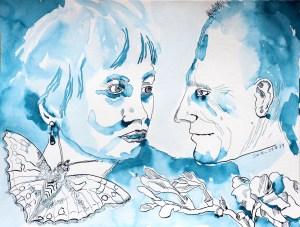 2021 08 29 - Doppelporträt Volker und Christiane, 30 x 40 cm, Tusche auf Aquarellkarton, Zeichnung von Susanne Haun (c) VG Bild-Kunst, Bonn 2021.JPG