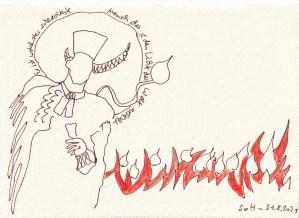 3 Tagebucheintrag 30.08.2021, Dekameron, Mord und Totschlag, 20 x 15 cm, Buntstift und Tinte auf Silberburg Büttenpapier, Zeichnung von Susanne Haun (c) VG Bild-Kunst, Bonn 2021
