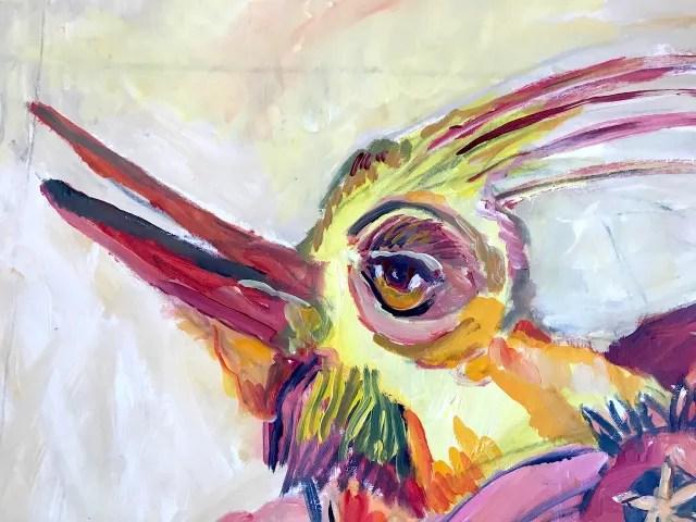 Der neue Falter aber, der frohe bunte 0 Vogelschmetterling, Gemaelde von Susanne Haun (c) VG Bild-Kunst, Bonn 2021
