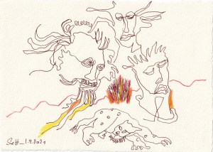 Tagebucheintrag 01.09.2021, Die hellsten Köpfe der Welt, 20 x 15 cm, Buntstift und Tinte auf Silberburg Büttenpapier, Zeichnung von Susanne Haun (c) VG Bild-Kunst, Bonn 2021