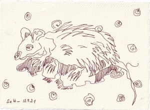 Tagebucheintrag 12.09.2021, Gepunktete Ratte, 20 x 15 cm, Buntstift und Tinte auf Silberburg Büttenpapier, Zeichnung von Susanne Haun (c) VG Bild-Kunst, Bonn 2021