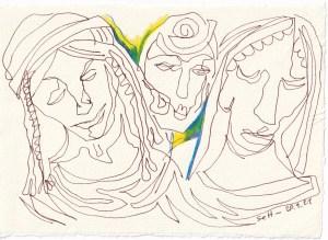 Tagebucheintrag 20.09.2021, Dreiergespann, 20 x 15 cm, Buntstift und Tinte auf Silberburg Büttenpapier, Zeichnung von Susanne Haun (c) VG Bild-Kunst, Bonn 2021