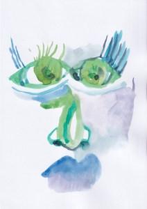 Gesichter der Stadt - Nr. 2, Aquarell von Susanne Haun auf VIVUS 100, 300 gqm (c) VG Bild-Kunst, Bonn 2021