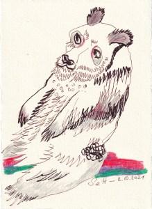 Tagebucheintrag 02.10.2021, Weiter warten auf ..., 20 x 15 cm, Buntstift und Tinte auf Silberburg Büttenpapier, Zeichnung von Susanne Haun (c) VG Bild-Kunst, Bonn 2021