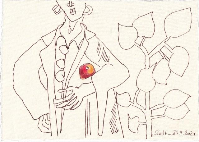 Tagebucheintrag 30.09.2021, Großstadt Klau, 20 x 15 cm, Buntstift und Tinte auf Silberburg Büttenpapier, Zeichnung von Susanne Haun (c) VG Bild-Kunst, Bonn 2021