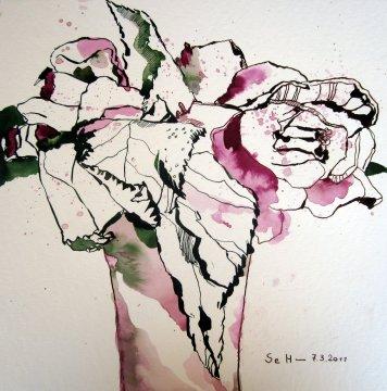 Rosen in Vase - Zeichnung von Susanne Haun - 25 x 25 cm - Tusche auf Bütten