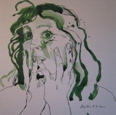 Ich am 7.4.2011 - Zeichnung von Susanne Haun - 25 x 25 cm - Tusche auf Bütten