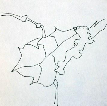 Schnee auf Blätter (c) Zeichnung von Susanne Haun