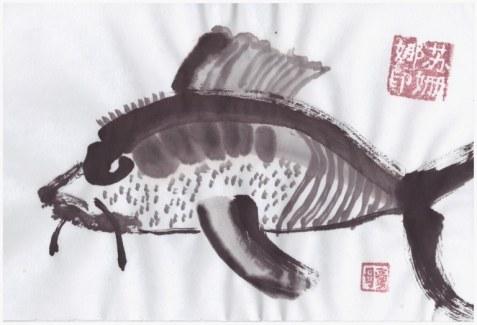 Wie ein Fisch im Wasser (c) Zeichnung von Susanne Haun