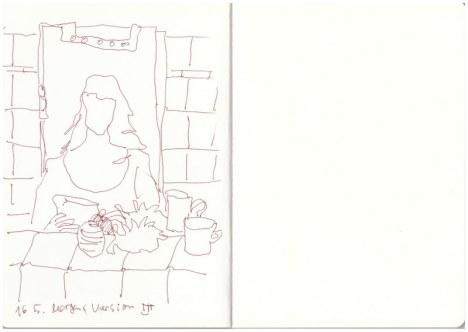 Ich im Badezimmerspiegel am Morgen (c) Zeichnung von Susanne Haun