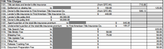 Real Estate Settlement Statement HUD1 Title Fees