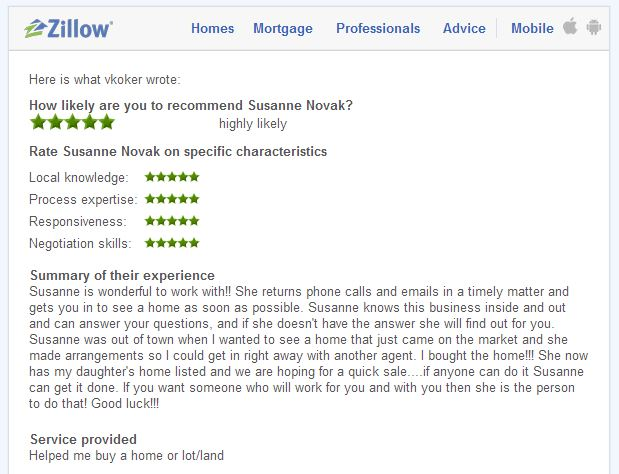 Zillow Testimonial for Susanne Novak