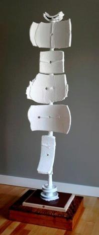 """""""Button Down"""", 2013, Wood, Ceramic and Plaster, 56""""H x 13""""D x 15""""W"""