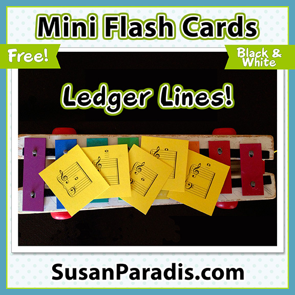 Mini music ledger line flash cards