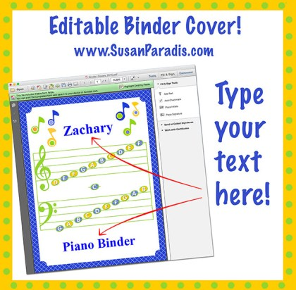 music binder cover