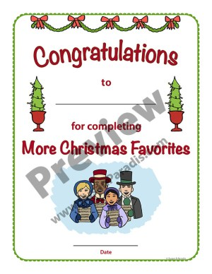 Certificate for More Christmas Favorites