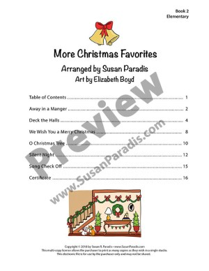 Table of Contents of More Christmas Favorites