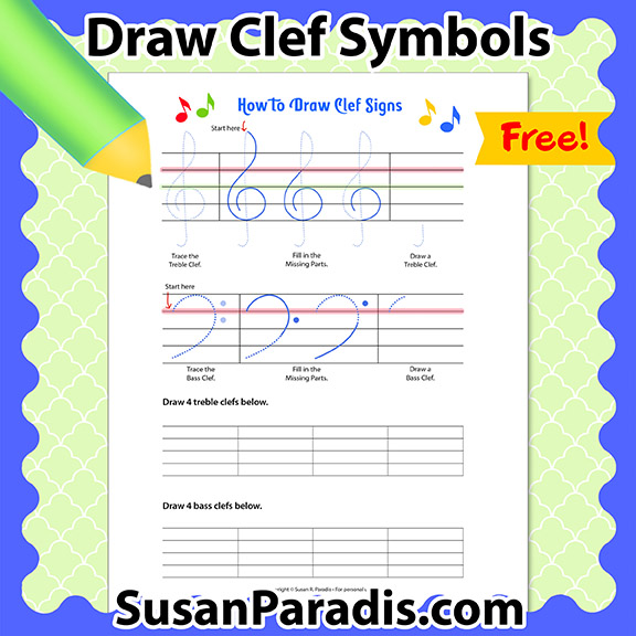 This is a step-by-step diagram showing how to draw treble and bass clefs.